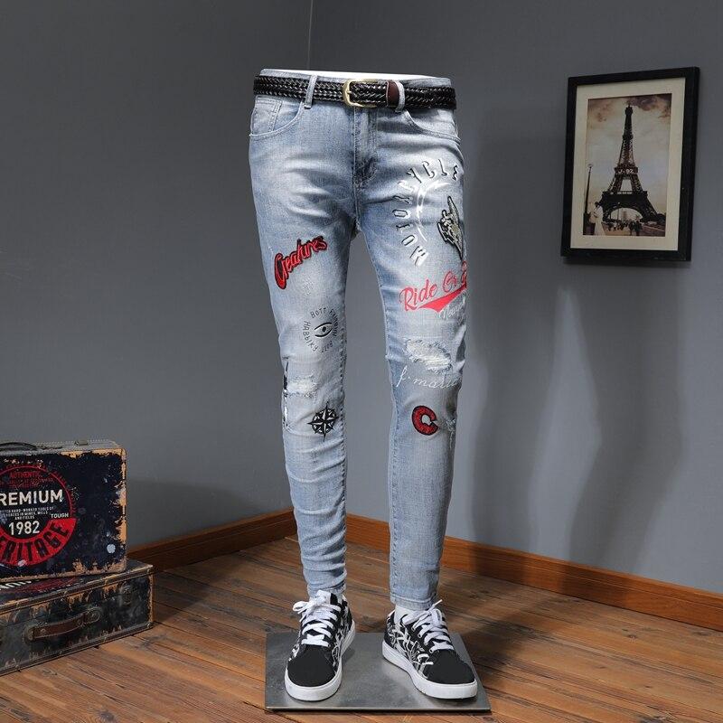 Top Quality Streetwear Men Blue Skinny Ripped Print Stretch Jeans HJ14