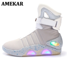 Led-Shoes Light-Up Back-To-The-Future High-Top for Men Usb-Recharging Mag