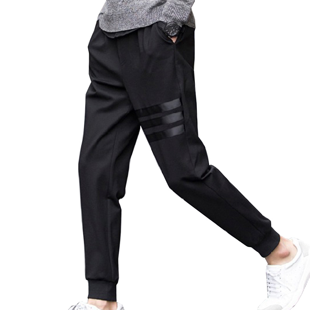 Pencil Feet Pants Fit Mens Casual Pants Spring Breathable Pants Skinny Pencil Pants Men Slim Straight Elastic Trousers Striped