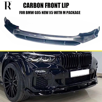 G05 Real Carbon Fiber Front Bumper Lip Chin Spoiler for BMW G05 New X5 with M Package 2019 UP