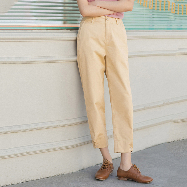 INMAN 2020 Summer New Arrival Literary Pure Cotton Medium Waist Concise Style Irregular Leg Opening Ankle Length Pant