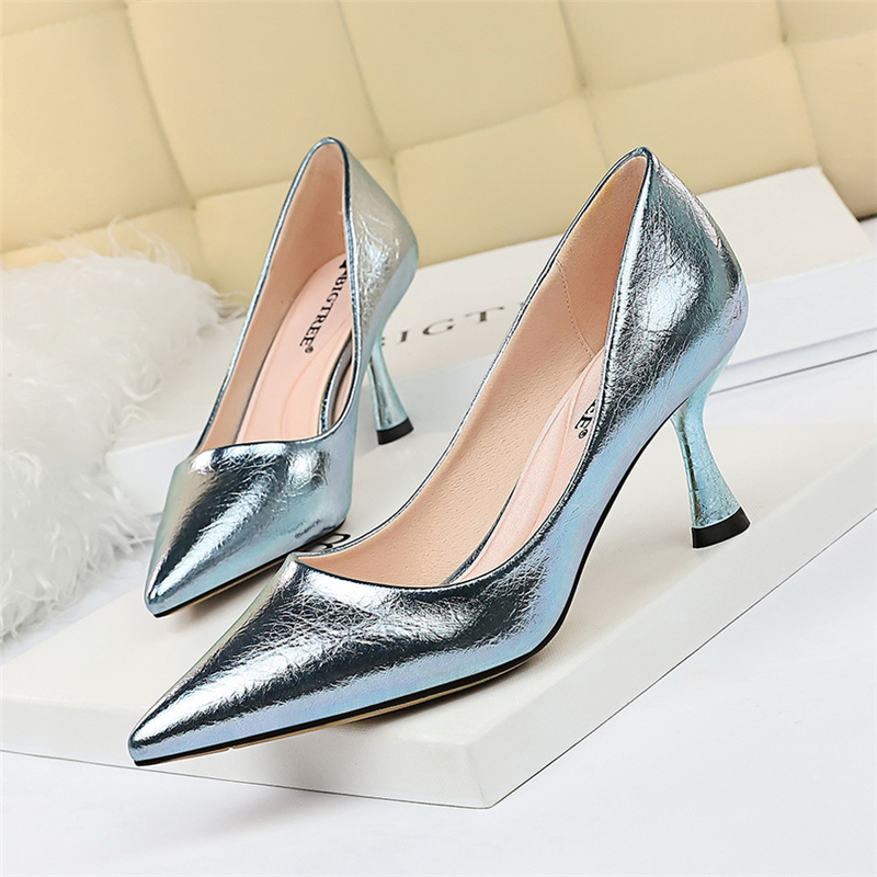 Pumps Designer Holographic-Shoes Reflective-Heels Wedding Party Gold Blue Spring Luxury title=