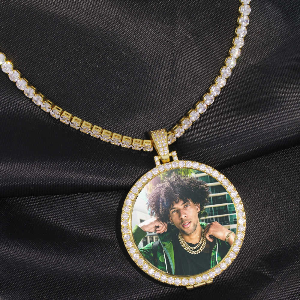 Custom Made Baby Photo Medallions Pendant Necklace & 3mm Cuban Chain Gold Silver Iced Out CZ Men's Hip hop Jewelry Family Gift