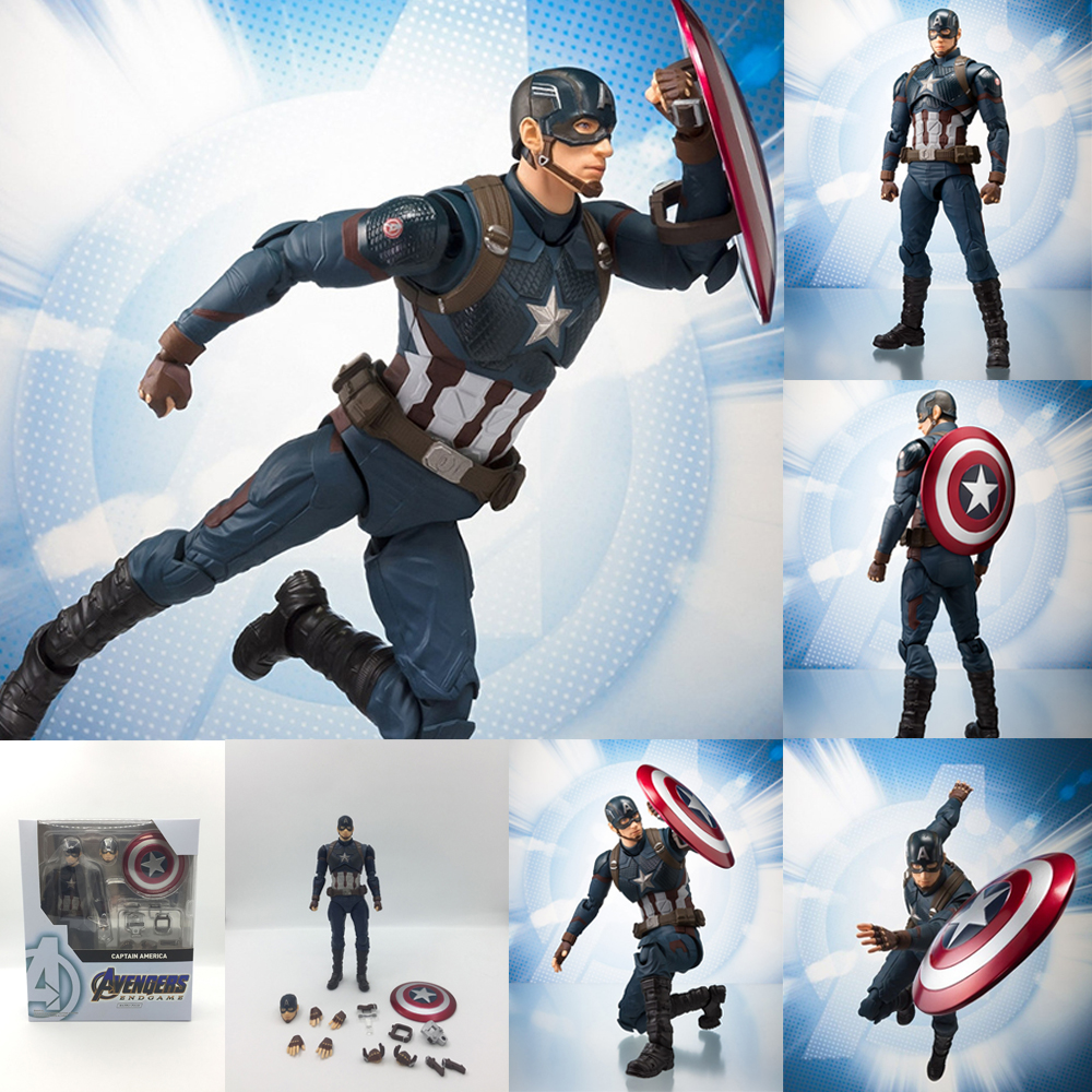 15cm SHF Marvel Avengers 4 Endgame American Captain America Action Figure Collectable Toy Doll For Gift