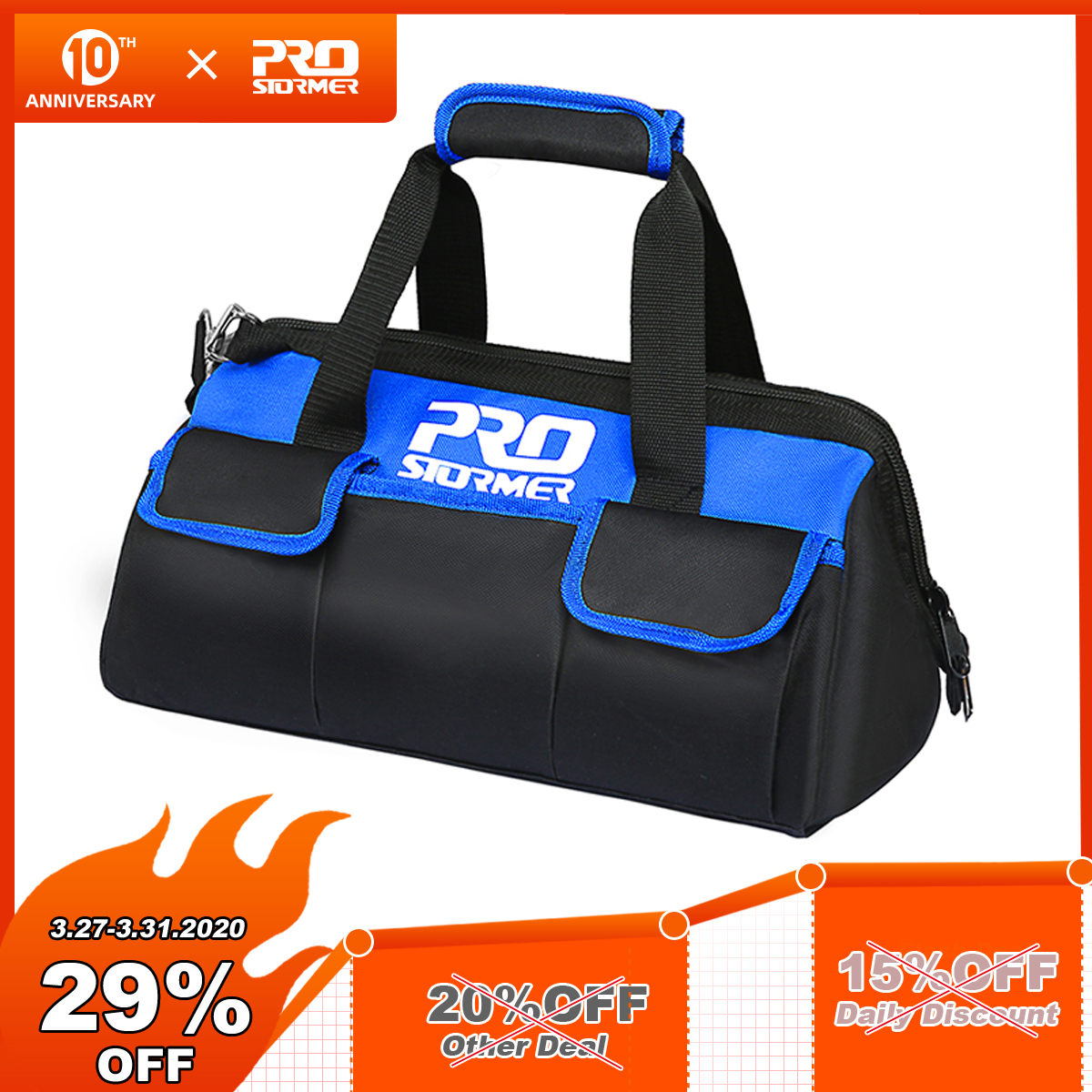 PROSTORMER 600D Waterproof Electrician Tool Bag Fixed Tool Bag Belt Working At Height  Multifunction Professional Maintenance