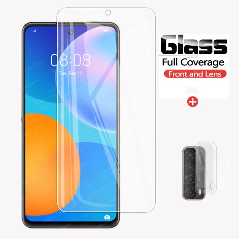 2 em 1 vidro temperado para huawei p smart 2021 protetor de tela cheia câmera lente filme para huawei p smart2021 vidro protetor