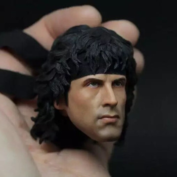 Collectible In Stock 1/6 Scale First drop of blood Rambo God of the Jungle Male Head Sculpt Carved Accessory Model for 12'' Body