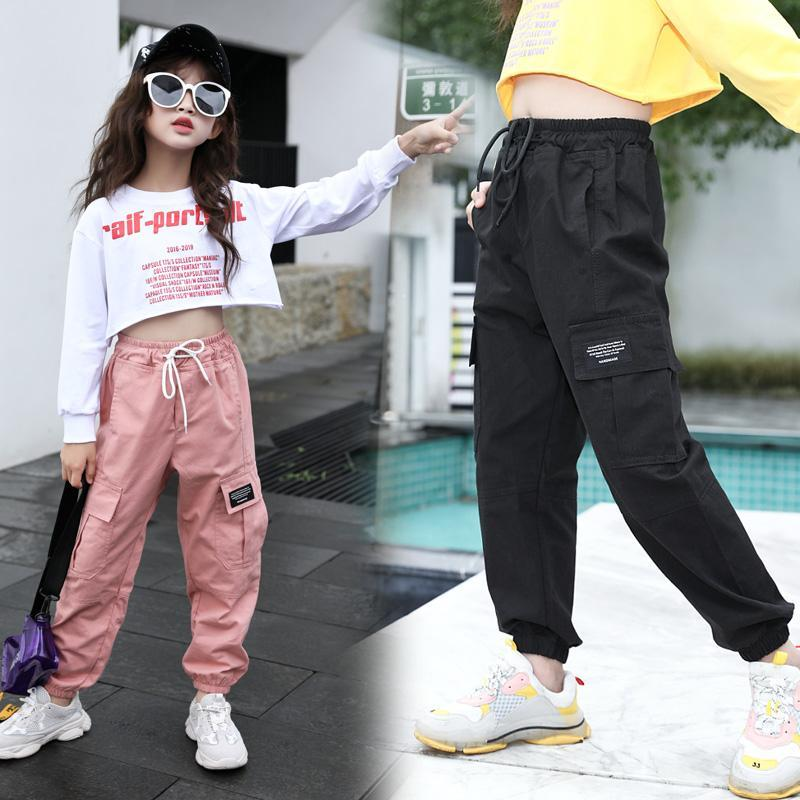 Girls Cargo Pants Spring Autumn Solid Color Kids Cotton Trousers Teenage Clothing Sweatpants Kids Outwear 3 4 <font><b>5</b></font> 6 8 10 12 Years image