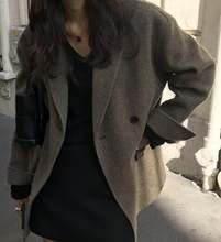 Женское повседневное двубортное зимнее однотонное пальто шерстяное