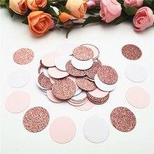 100 шт. 3 см блестящие розовые Золотые круглые бумажные конфетти, кружки для свадебных карточек, бумажные круги, товары для дней рождения, деко...