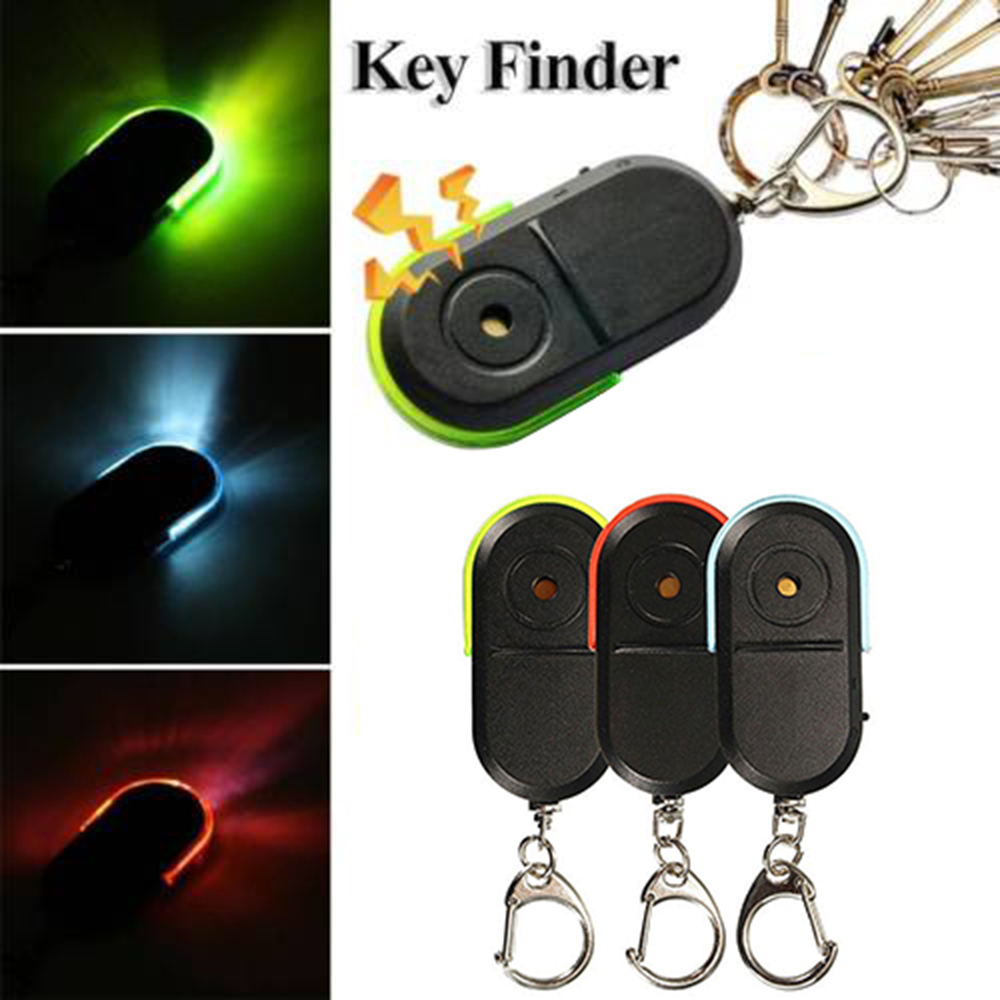 Anti-Lost Alarm Key Finder Locator Tracker Keychain Whistle Sound With LED Light Lobster Clamp