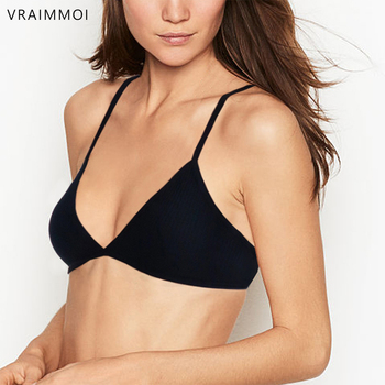Tube Top Sexy Thin Brassiere Wireless Bra Criss-Cross Back V-Neck Black/White Seamless Underwear For Women VRAIMMOI sexy v neck sleeveless solid color criss cross tank top for women