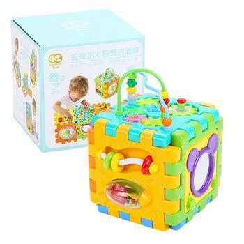 Aktywność dziecka kostka zabawki dla malucha 6 w 1 kształt Sorter aktywność dziecka centra zabaw tanie i dobre opinie CN (pochodzenie) E65D