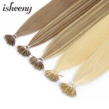 """Isheeny 1"""" 18"""" 2"""" волосы Remy для наращивания с микро-бусинами в нано кольцах человеческие волосы прямые 9 цветов блонд европейские волосы"""