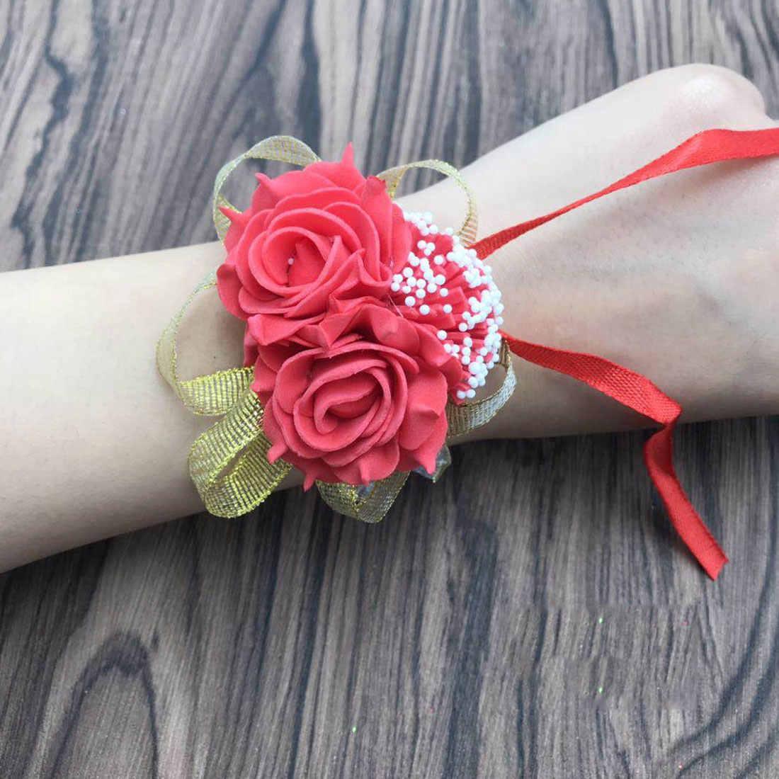 1 Pcs Buatan Rose Pernikahan Dekorasi Mariage Gelang Tangan Bunga Sutra Renda Busa PE Pengantin Bridesmaid Pergelangan Tangan Bunga