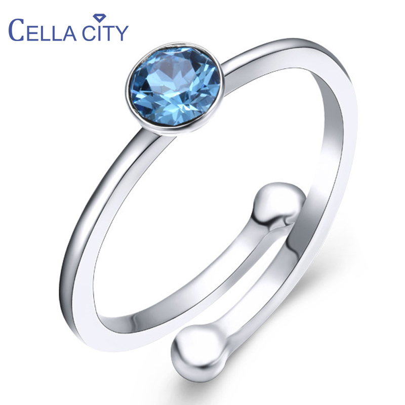 Cellacity 925 Silver Ring With Round Creative Aquamarine Gemstone For Charm Women Fine Jewelery Wedding Party Gift Wholesale