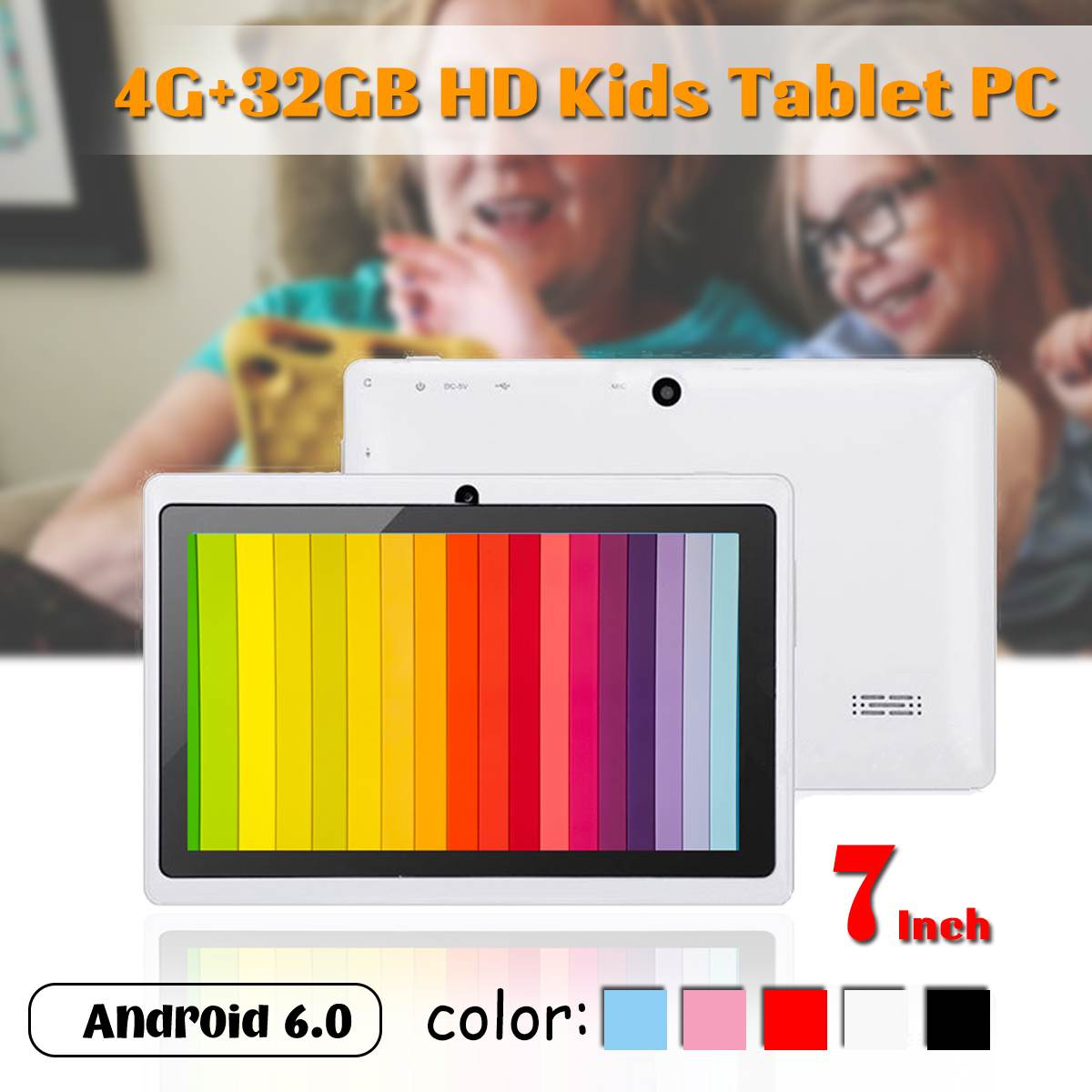 Hot Sales LEORY 7 Inch HD Kids Tablet PC 4G+32GB Android 6.0 Quad Core 4000mAh Children Pad WIFI Bluetooth Navigation Tab