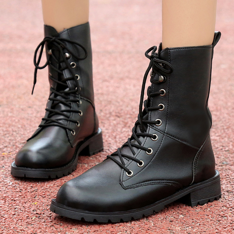 Fashion Motocycle booties Women Boots Botas Female Womens Ankle Boots Square Heel Martin Boots Autumn Shoes Camouflage