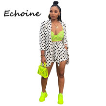 Echoine-Conjunto de 2 piezas con estampado de lunares para mujer, abrigo de Chaquetas de manga larga + pantalones cortos de vendaje, ropa de oficina de cintura alta, 2019