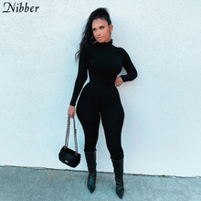 Nibber Solid Color Casual Turtleneck Rompers Womens Jumpsuit Workout Long Sleeve 2021 Keep Warm Elegant Skinny Sporty Jumpsuits