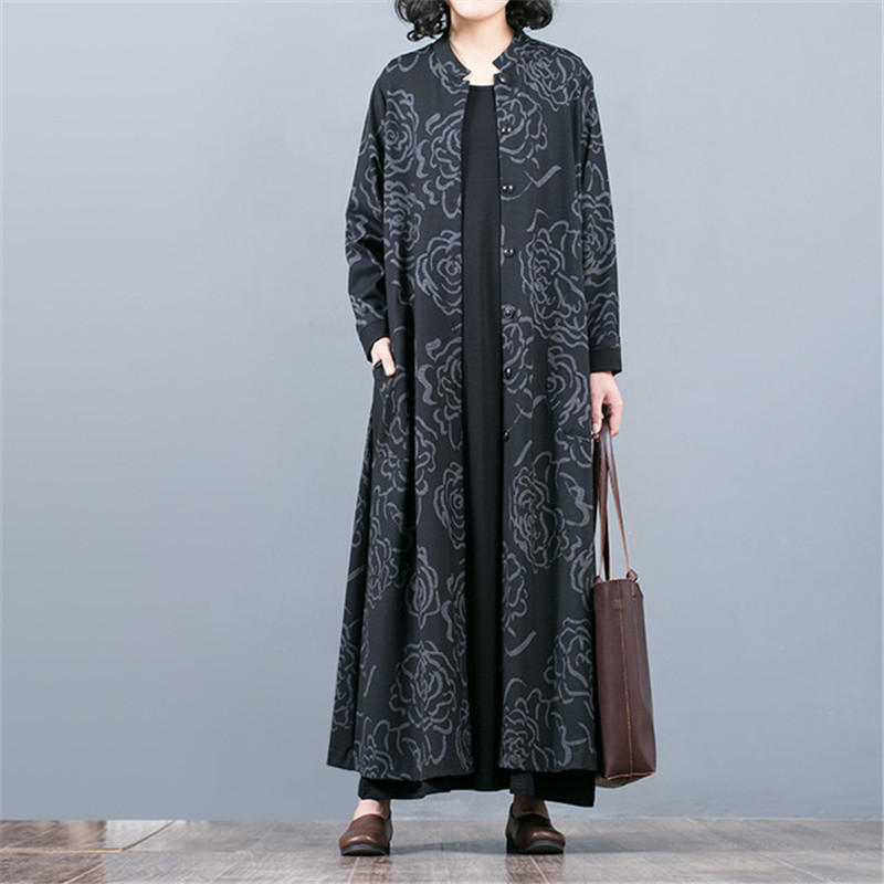 2019 New Spring Autumn Large Size Women's Clothing Casual Long Printed Cardigan   Trench   Coat Female Windbreaker Outerwear XA127
