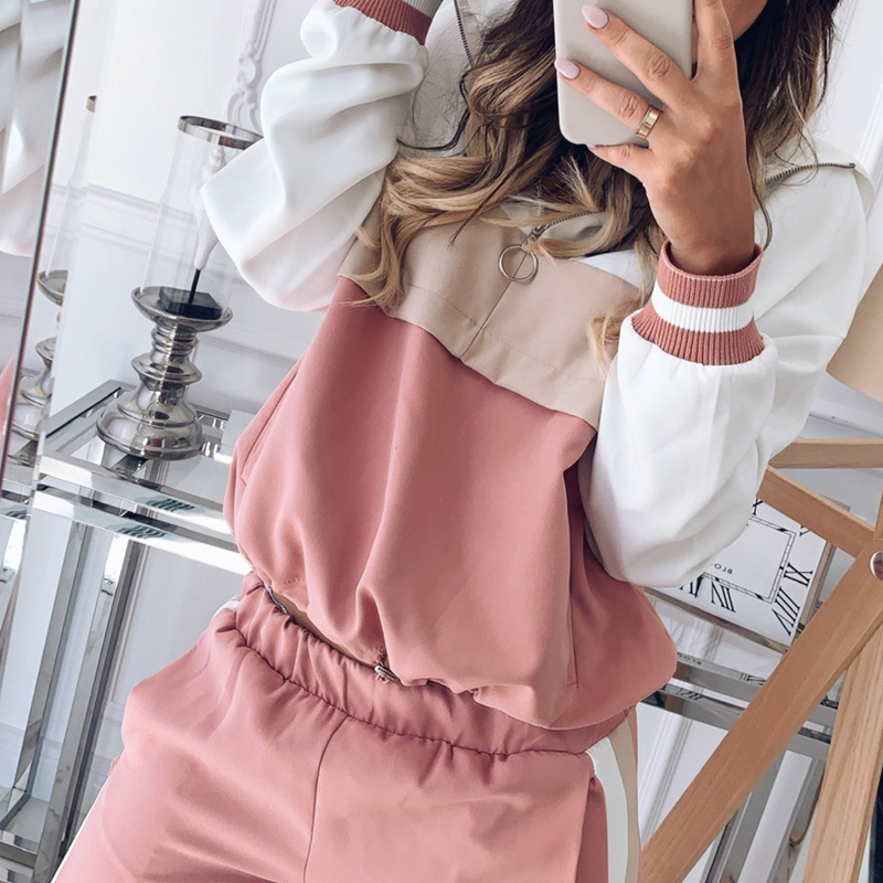 Splicing Casual 2019 Women Set Spring Two Piece Set Pink Pullover Sportwear Tops And Pencil Jogging Pants Female Sporting Suit