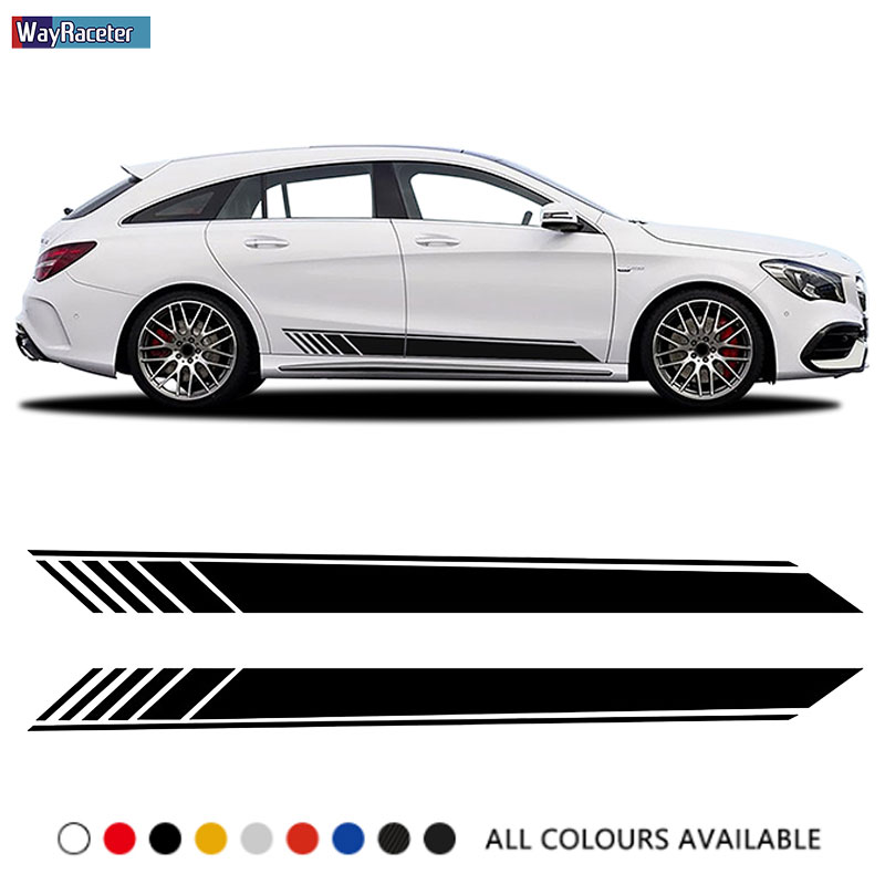 Car Door Side Stripes Skirt Sticker Edition 1 Vinyl Decal For <font><b>Mercedes</b></font> Benz CLA Class <font><b>CLA45</b></font> <font><b>AMG</b></font> C117 X117 W117 C118 X118 CLA35 image