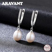 New Arrival 925 Sterling Silver Women Pearl Drop Earrings With White Cubic Zircon Wedding Pearl Jewelry недорого