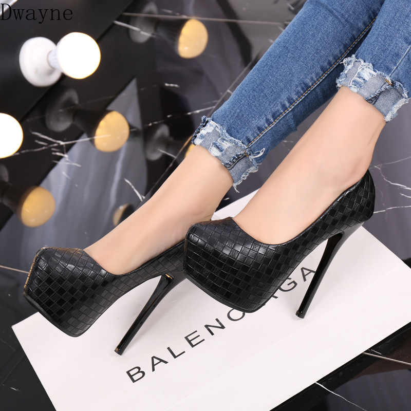 14cm simple elegant high heels 2019 new super high-heeled weaving plaid single shoes round head shallow mouth sexy women's shoes