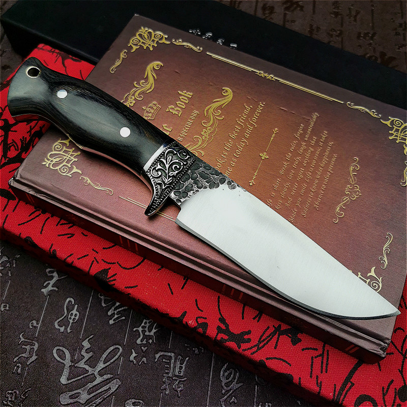 Tools : PEGASI  Vacuum forging integrated steel mirror light tactical straight knife ebony handle for outdoor hunting straight knife