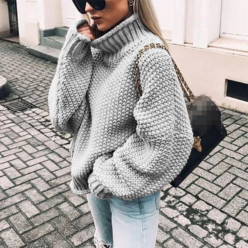 Sweater Women Fashion Clothes Fall Winter 2019 Warm Long Sleeve Turtleneck Knitted Sweater Female Big Size Loose Pullover Tops