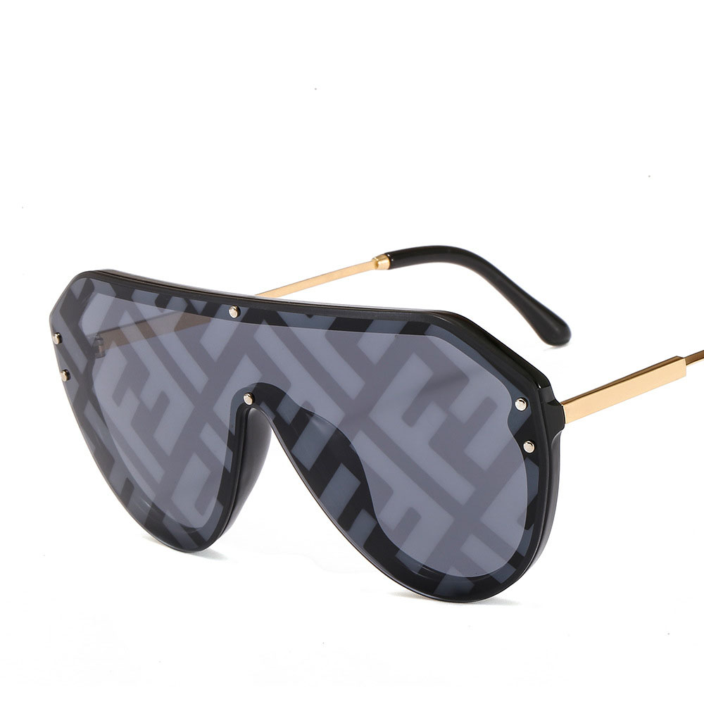 Pawes 2019 Fashion F Watermark Sunglasses Women Men One-piece Female Personality Colorful Wild Sun Glasses 2130