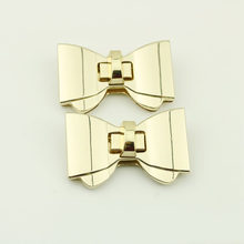 Buckle Twist Lock Latches Clasp DIY Rectangle Bow Hardware Bag Accessories Handbag Purses Bag Clasp Golden Turn Lock Metal Hook(China)