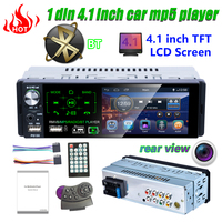 1din car radio 4.1 inch car stereo multimedia player Autoradio MP5 RDS USB Bluetooth touch screen automatic with rear camera