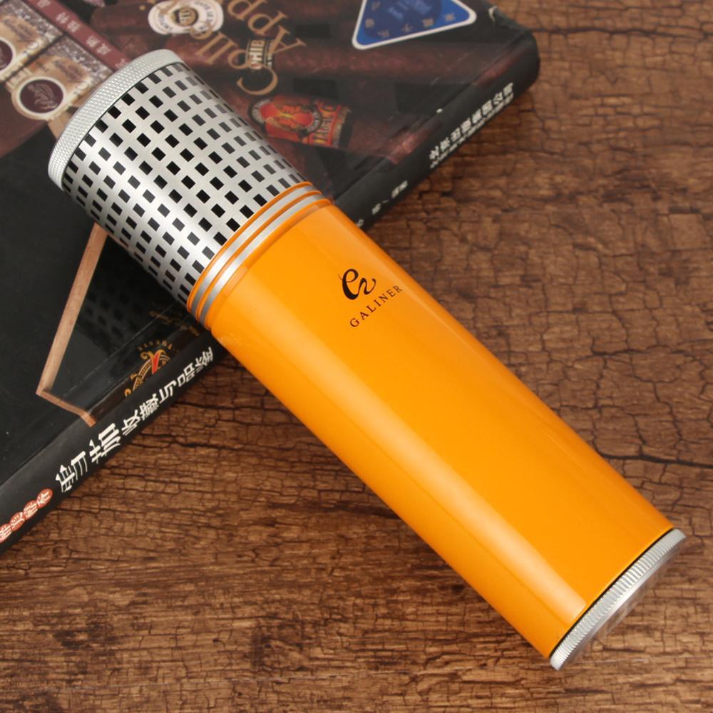 GALINER Cigar Tube Travel Humidor Cigar Case Jar Portable Outdoor Cigar Humidor Box With Hygrometer Humidifier For COHIBA Cigar