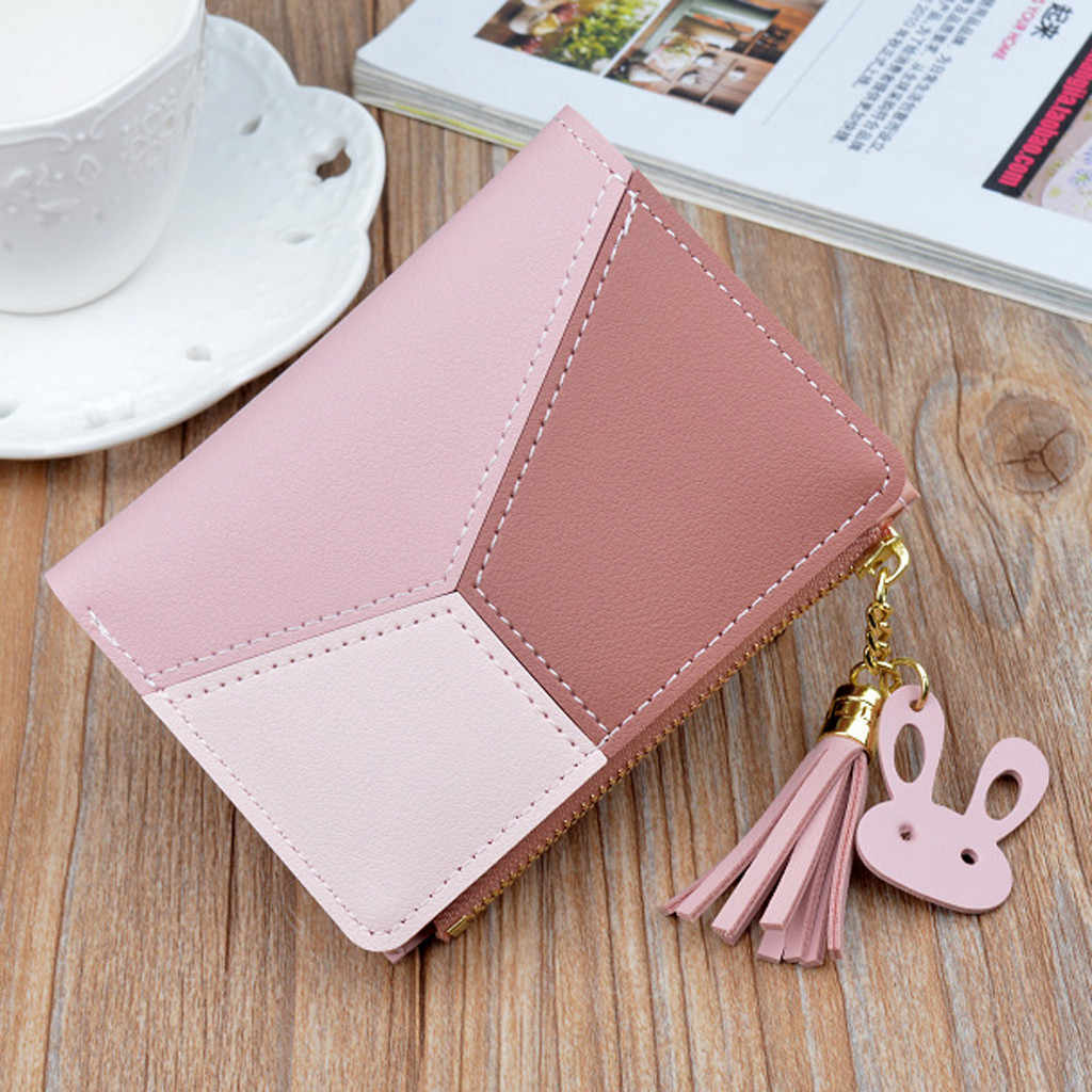 New Arrival Wallet Short Women Wallets Zipper Purse Patchwork Fashion Panelled Change Bag Trendy Coin Purses Card Holder #YL5