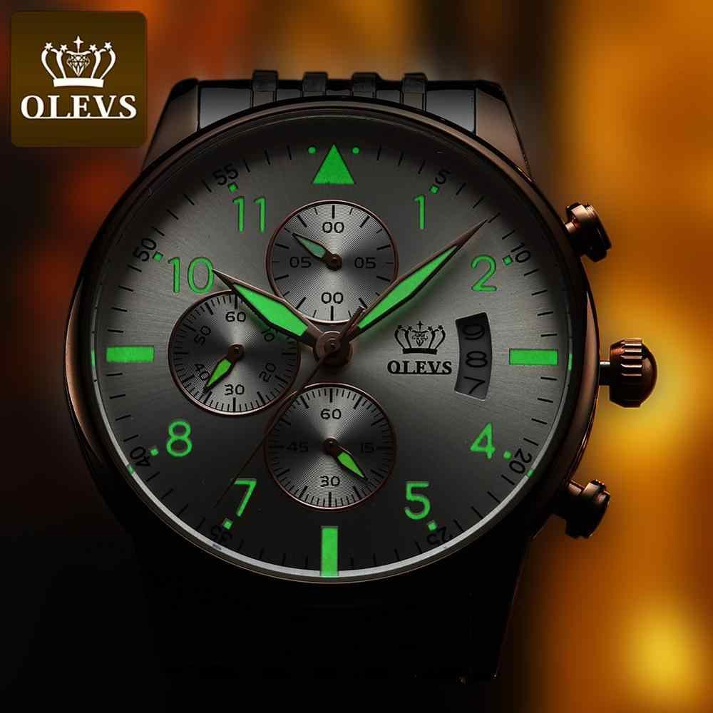 OLEVS أفضل الأصلي ساعة رجالي موضة مقاوم للماء ساعة للرجال متعددة الوظائف كرونوغراف الرياضة ساعة رقمية مضيئة
