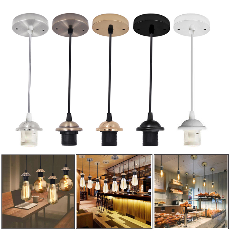 AC 220V Vintage Edison Lamp Base E27 Screw Ceiling Rose Light Pendant Light Holder E27 Screw Socket Base For Retro Incandescent
