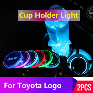 2PCS Led Car Cup Holder Coaster For Toyota logo Light For anvensis t25 corolla chr rav4 2019 auris camry 2018 avalon Accessories(China)