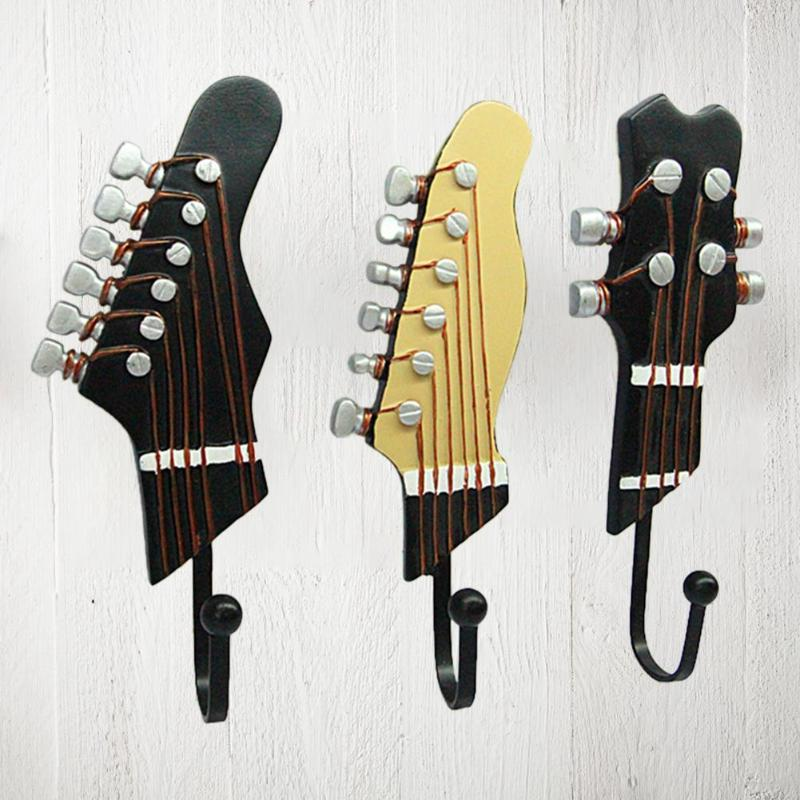 3pcs Creative Resin Hook Guitar Head Shaped Key Clothes Hat Coat Towel Wall Holder Home Kitchen Bathroom Storage Tool