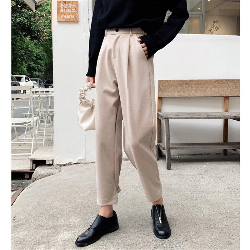 Alien Kitty Fashion Women Woolen Warm Ankle-Length Pants Casual High Waist Plus Size Autumn Chic Hot Women Wide Leg Trousers