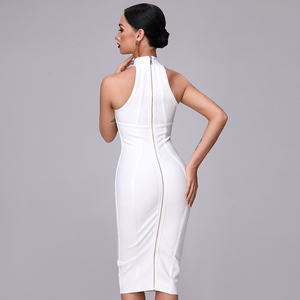 Image 5 - SUE DREAM Womens 2020 New Sexy White High Neck Sleeveless Bandage Dress And Knee Length Sexy Bodycon Runway Dresses