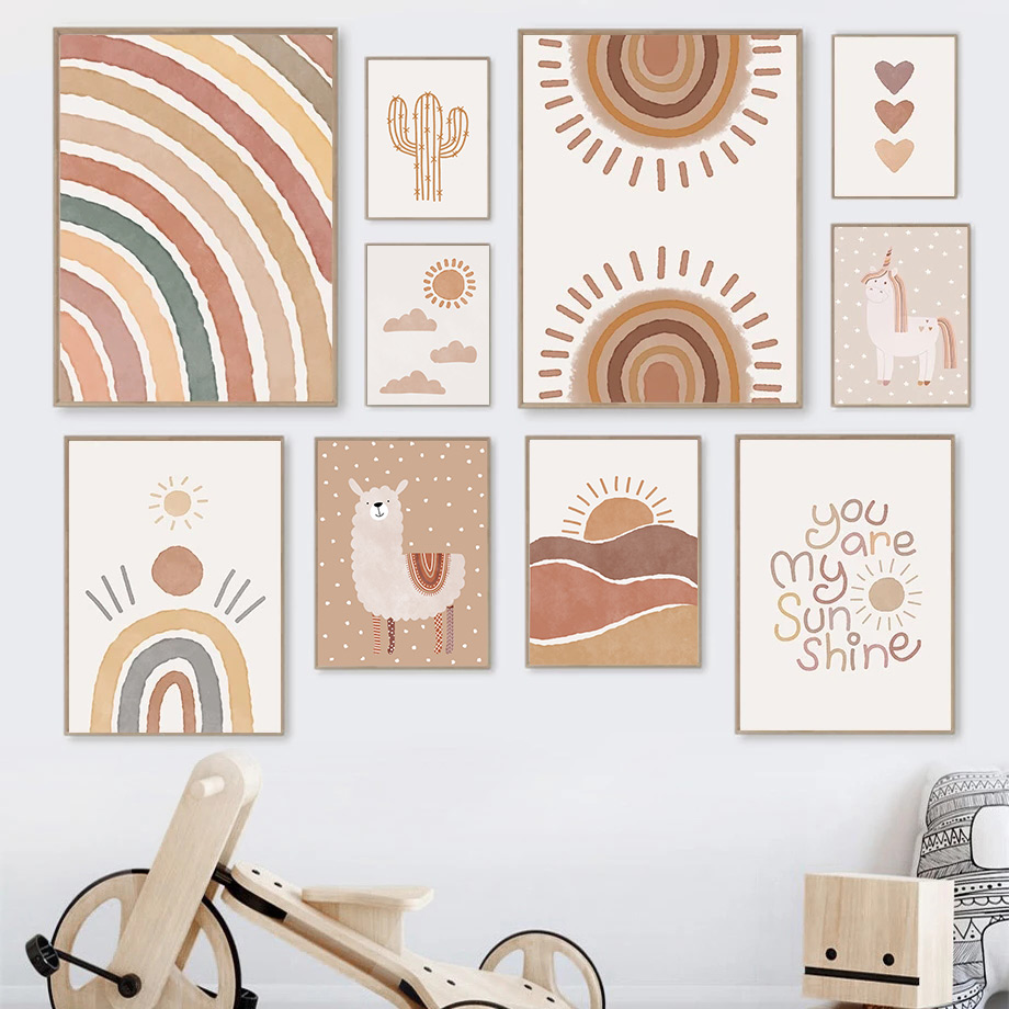 Alpaca Rainbow Heart Unicorn Cactus Wall Art Poster And Print Boho Quotes Canvas Painting Abstract Nursery Baby Kids Room Decor