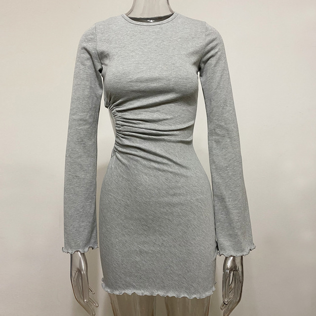 Autumn Draped Flare Sleeve Cut-Out Mini Dresses Knitting Round Neck Ruched Dress Skinny Chic Casual Streetwear 6