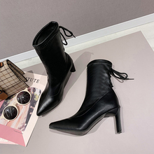 Sexy Ankle boots for women Black Leather Boots  Soft Pointed Toe Women Boot Winter Autumn 2019 New Fashion Thin High Heels Boots стоимость