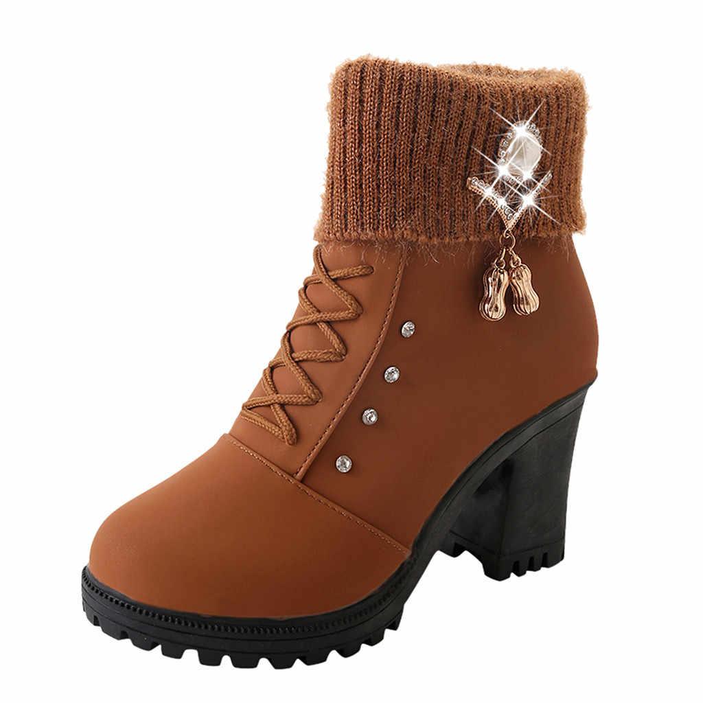 רומי נשים של מגפי גביש קישוט אופנה גבירותיי קרסול שטוח כיכר גבוהה העקב שרוכים נעליים יומיומיות אישה Botines Mujer 2019