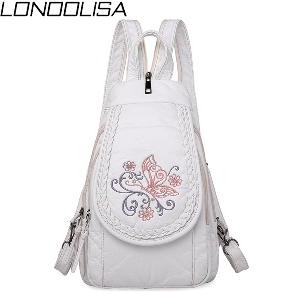Butterfly Embroidery Sheepskin Women Backpack 3 in 1 Soft Genuine Leather Chest Bag For Mother Ladies  Large Capacity BagpackBackpacks   -