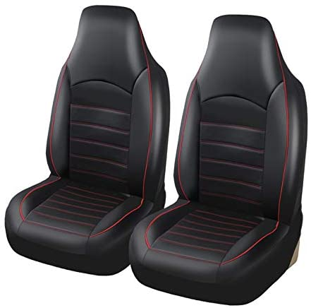 AUTOYOUTH PU Leather Front Car Seat Covers Fashion Style High Back Bucket Car Seat Cover Auto Interior Car Seat Protector 2PCS