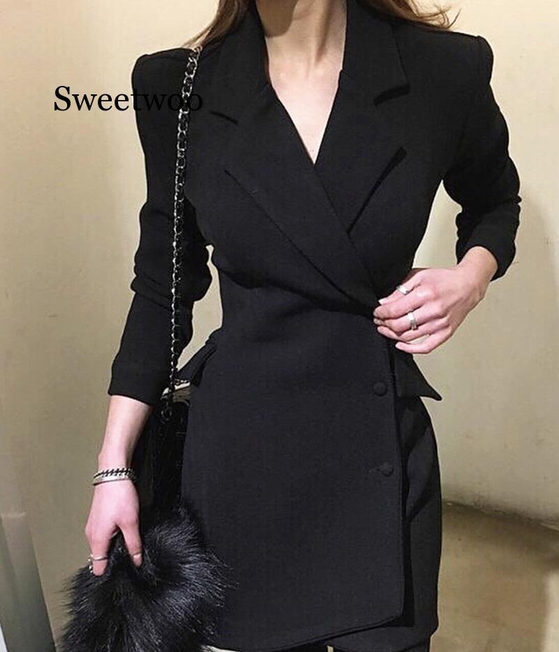 Женское офисное платье-Блейзер, черный деловой костюм, элегантное двубортное платье, пиджак, женский костюм, весенний сексуальный костюм, ж...