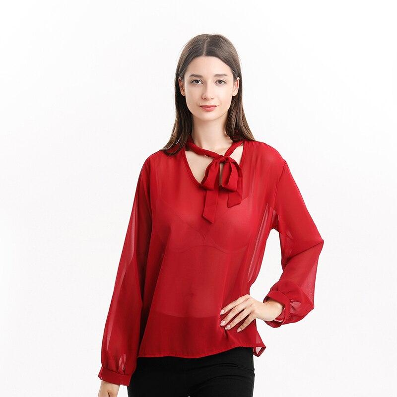 Женская шифоновая рубашка, новинка, длинный рукав, бант, топ с v-образным вырезом, ширина полосы, Свободная Повседневная рубашка, женская